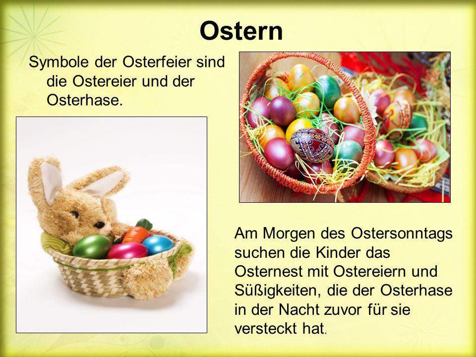 Ostern Symbole der Osterfeier sind die Ostereier und der Osterhase.