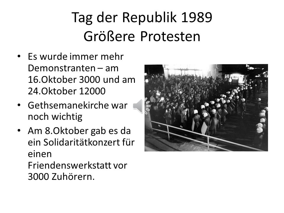 Tag der Republik 1989 Größere Protesten