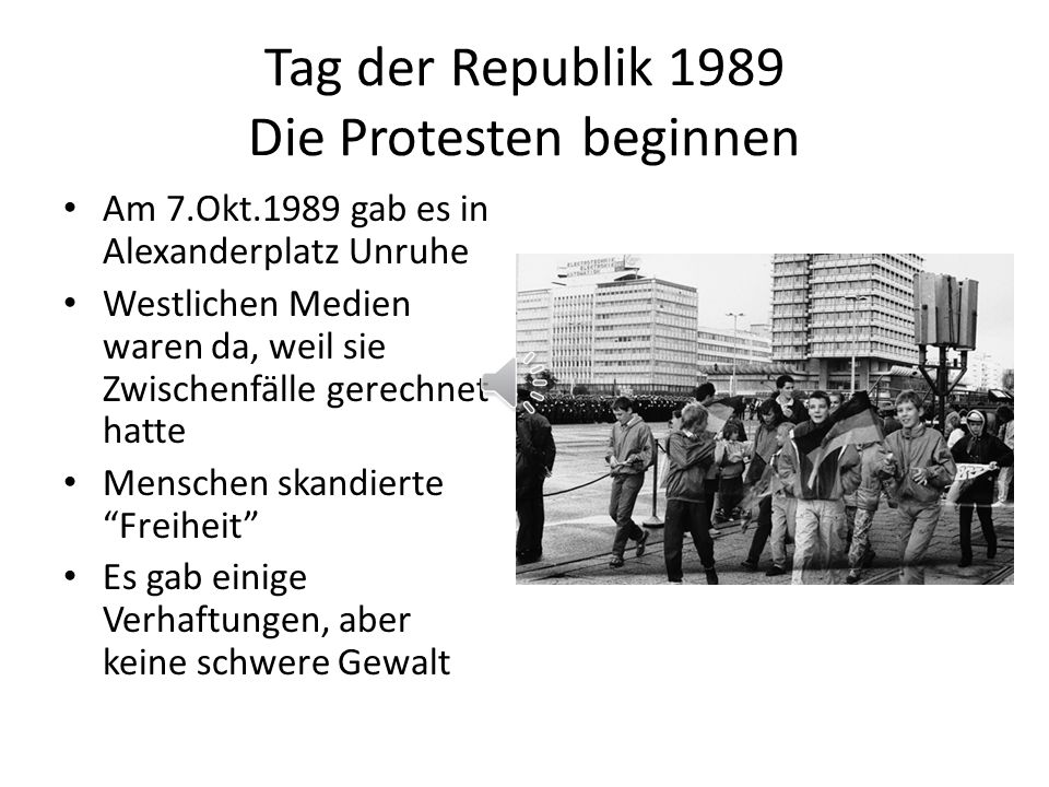Tag der Republik 1989 Die Protesten beginnen