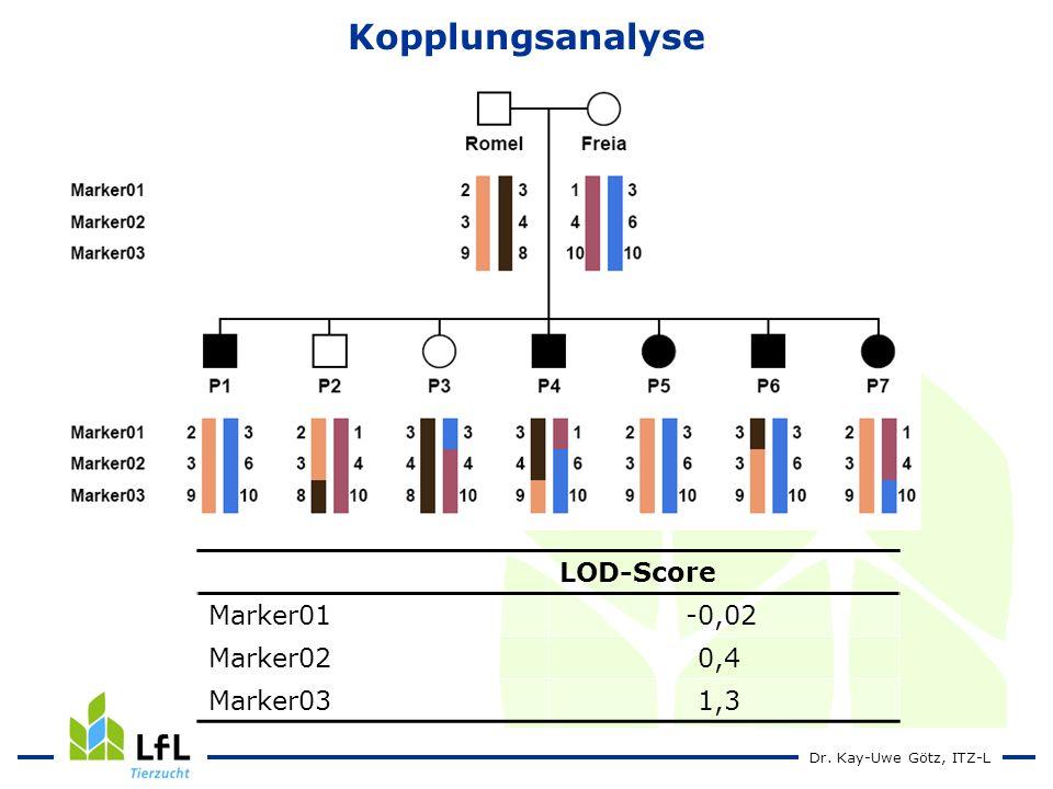 Kopplungsanalyse LOD-Score Marker01 -0,02 Marker02 0,4 Marker03 1,3