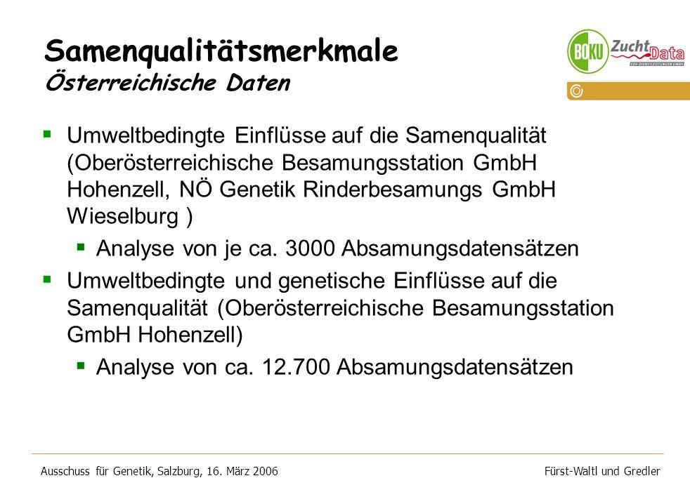 Samenqualitätsmerkmale Österreichische Daten