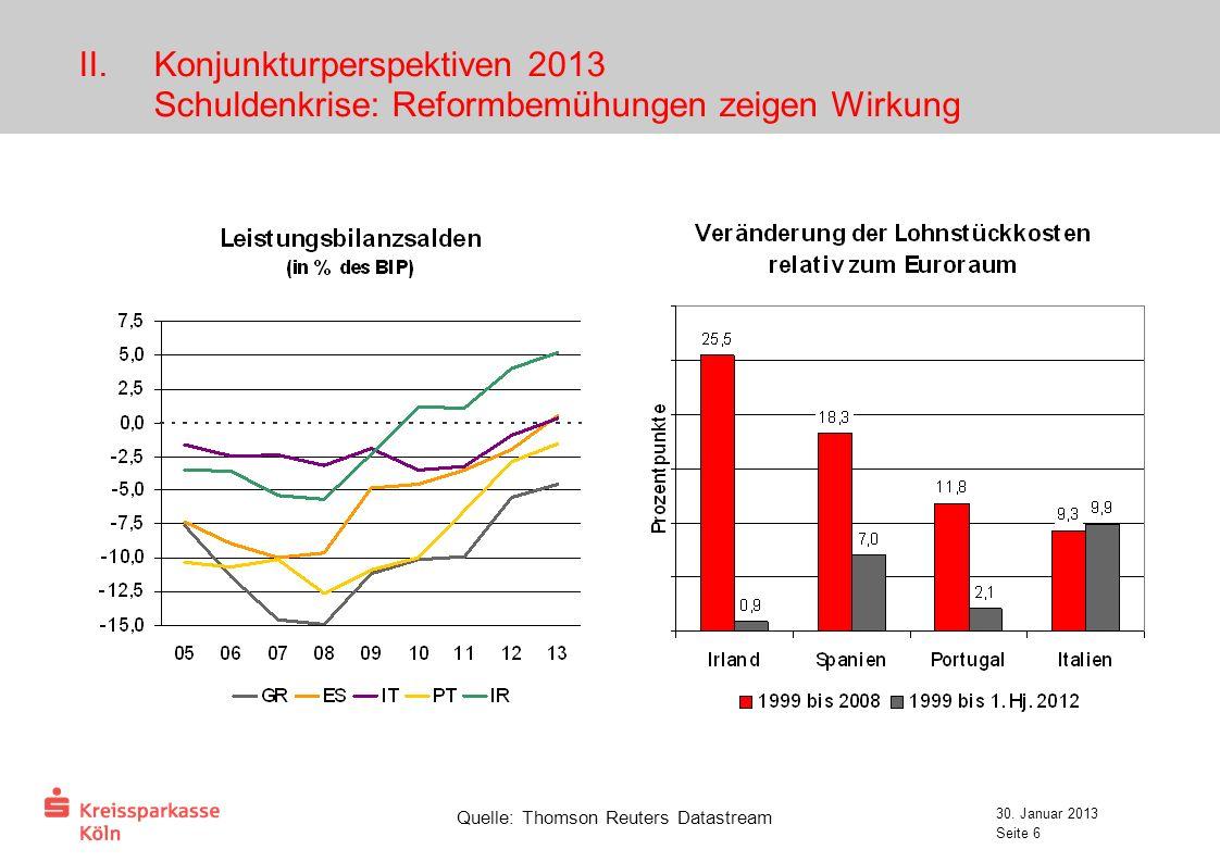 Konjunkturperspektiven 2013 Schuldenkrise: Reformbemühungen zeigen Wirkung