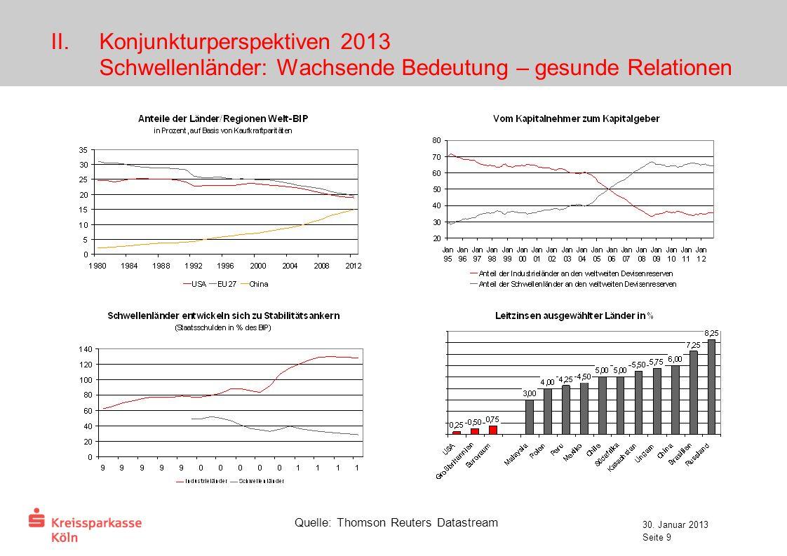 Konjunkturperspektiven 2013 Schwellenländer: Wachsende Bedeutung – gesunde Relationen
