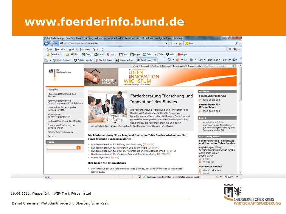 www.foerderinfo.bund.de 16.06.2011, Wipperfürth, WIP-Treff, Fördermittel.
