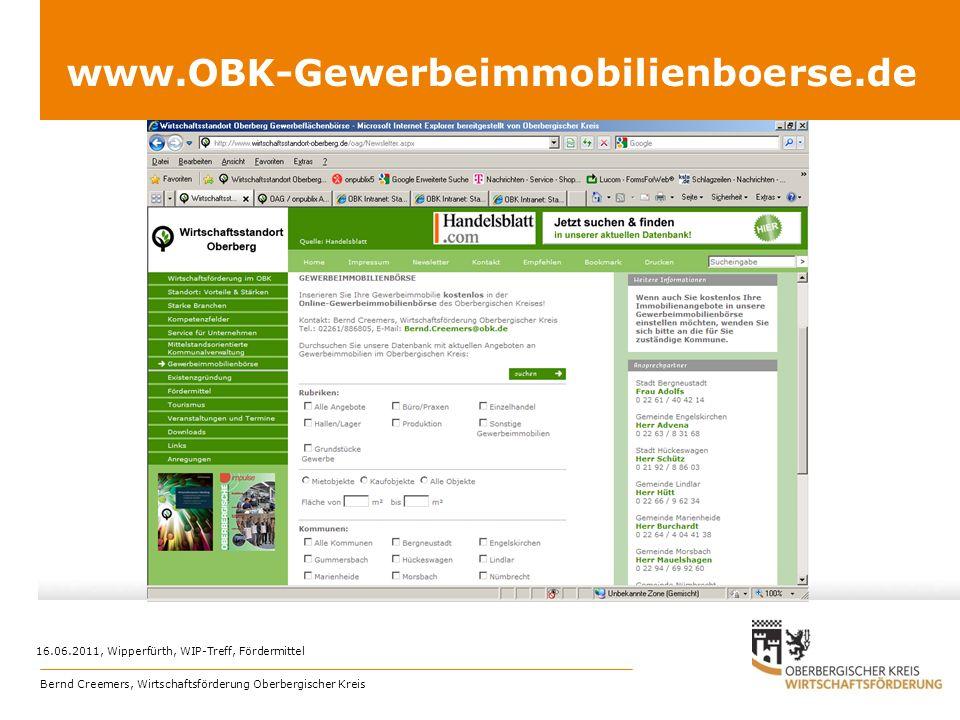 www.OBK-Gewerbeimmobilienboerse.de 16.06.2011, Wipperfürth, WIP-Treff, Fördermittel.