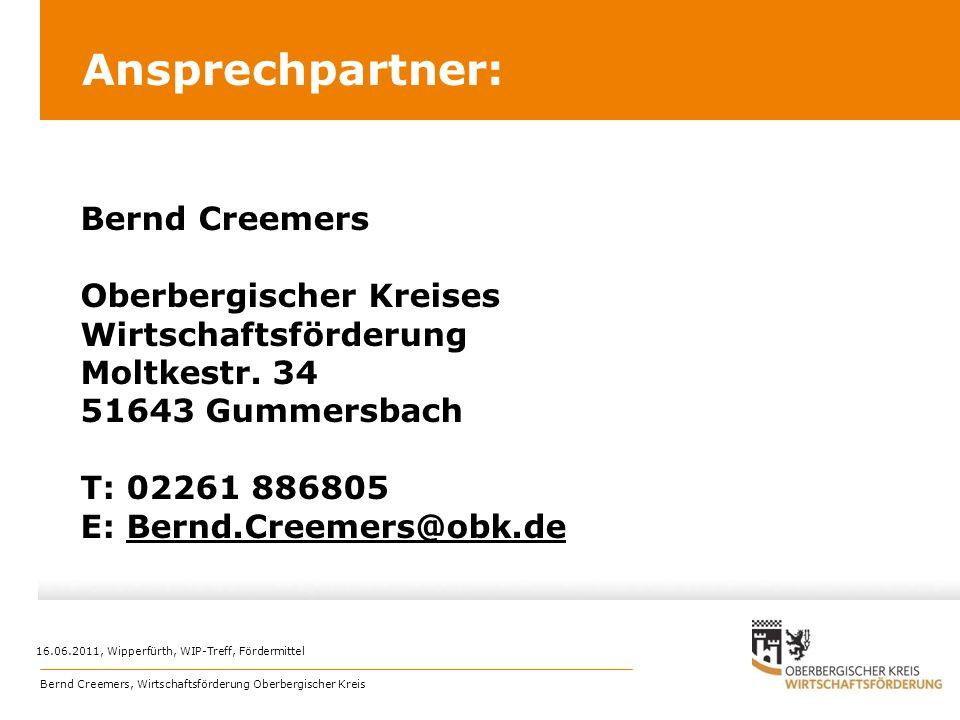 Ansprechpartner: Oberbergischer Kreises Wirtschaftsförderung