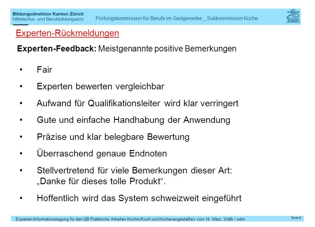 Experten-Feedback: Meistgenannte positive Bemerkungen