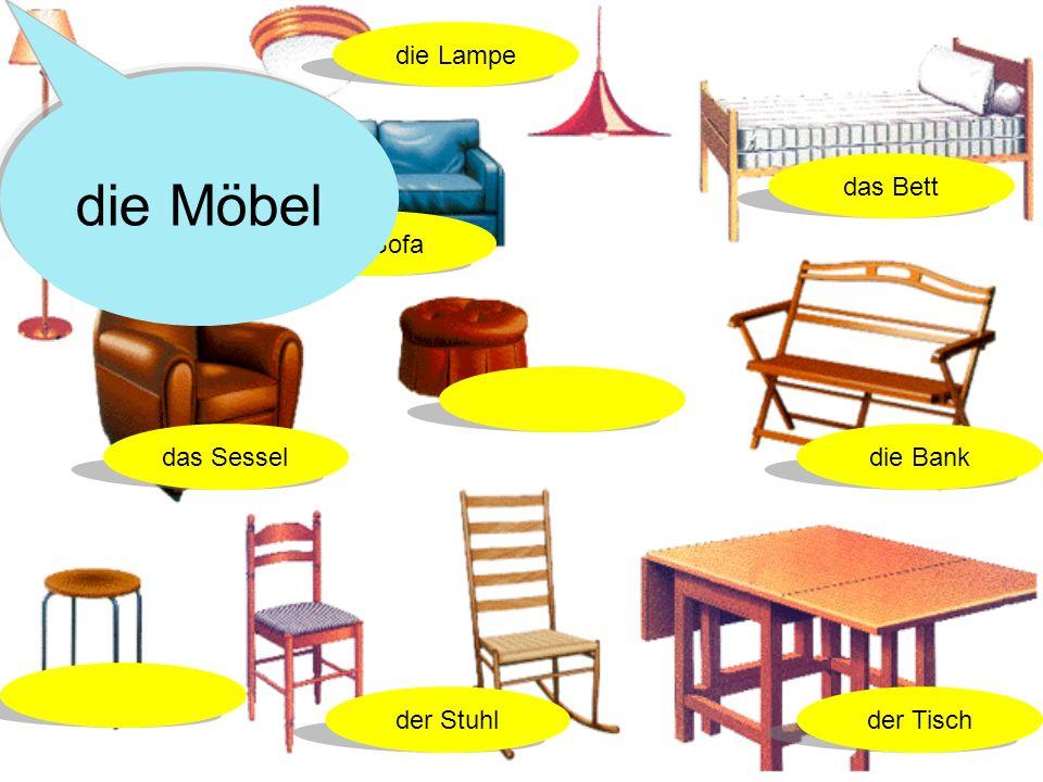 die Möbel die Lampe das Bett das Sofa das Sessel die Bank der Stuhl