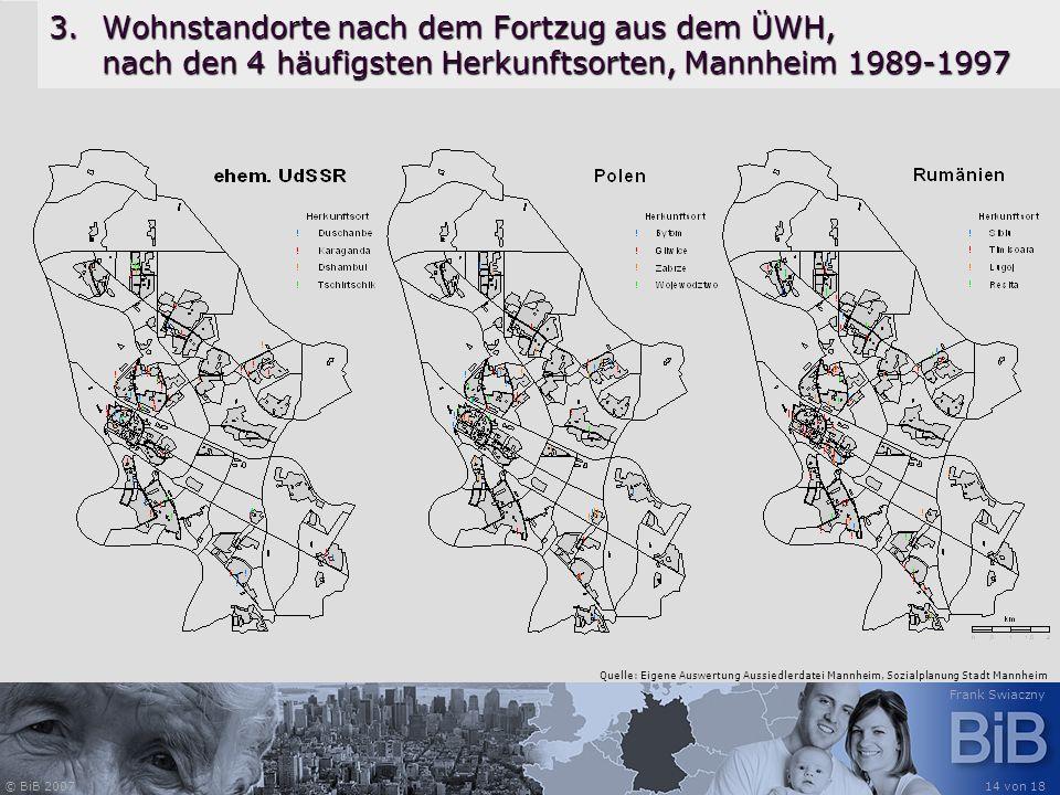 Wohnstandorte nach dem Fortzug aus dem ÜWH, nach den 4 häufigsten Herkunftsorten, Mannheim 1989-1997