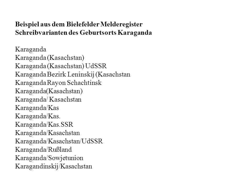 Beispiel aus dem Bielefelder Melderegister