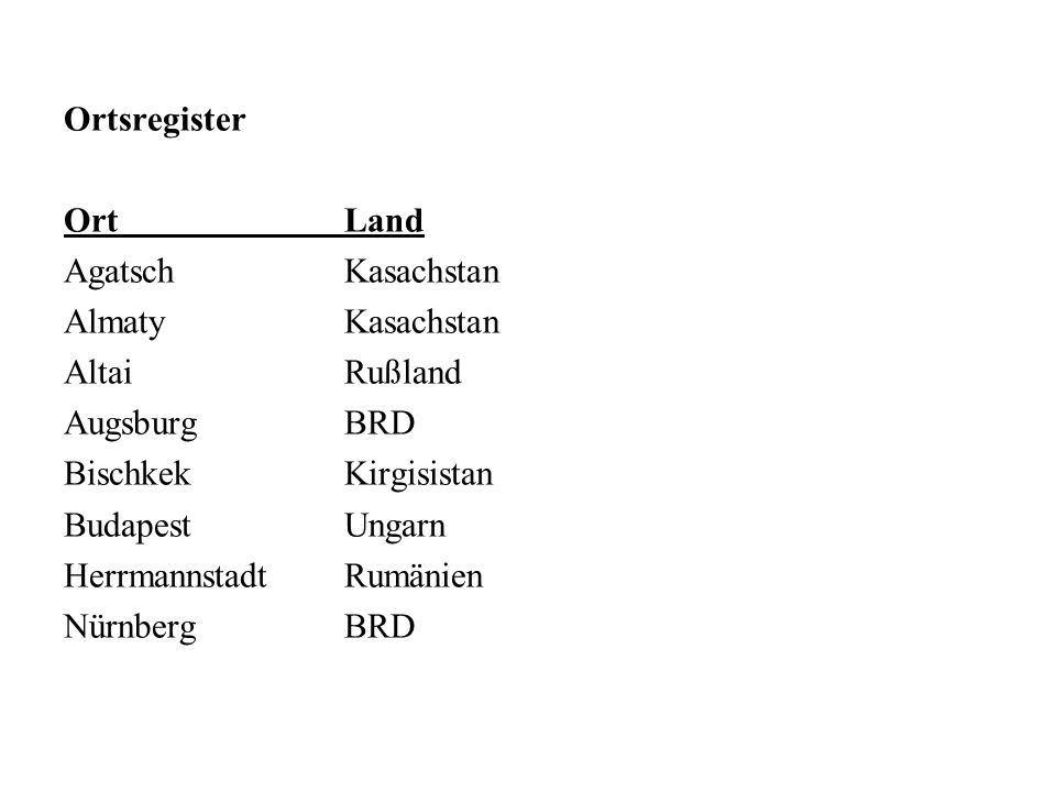 Ortsregister Ort Land. Agatsch Kasachstan. Almaty Kasachstan. Altai Rußland. Augsburg BRD. Bischkek Kirgisistan.
