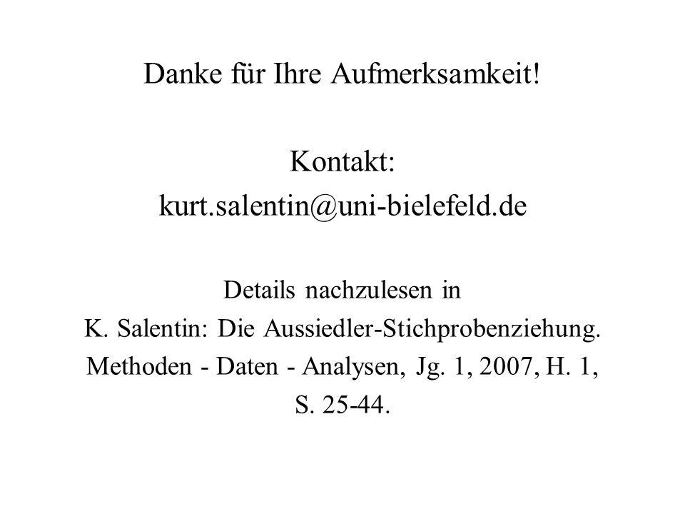 Danke für Ihre Aufmerksamkeit! Kontakt: kurt.salentin@uni-bielefeld.de