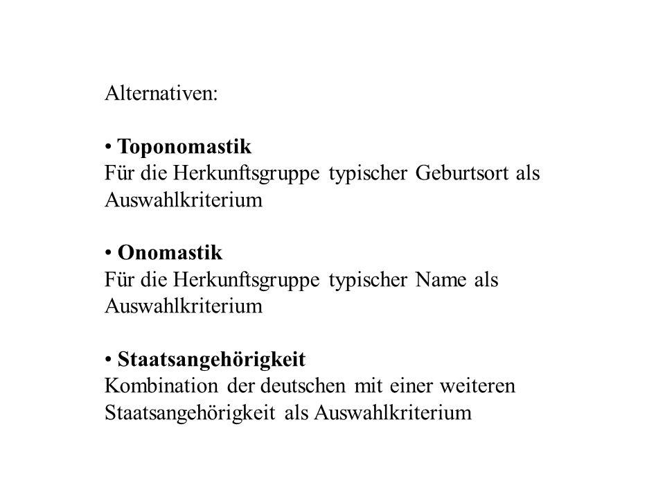 Alternativen: Toponomastik. Für die Herkunftsgruppe typischer Geburtsort als Auswahlkriterium. Onomastik.