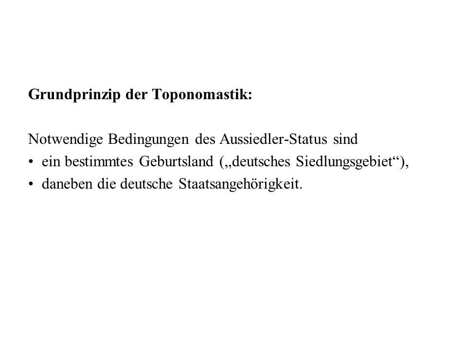 Grundprinzip der Toponomastik: