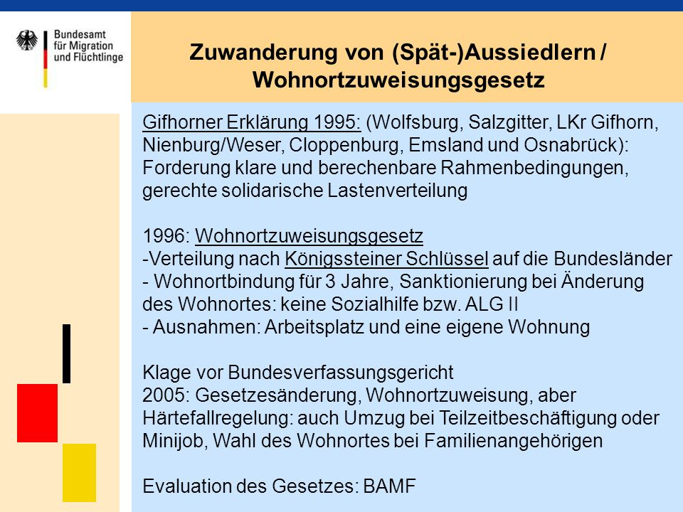 Zuwanderung von (Spät-)Aussiedlern / Wohnortzuweisungsgesetz