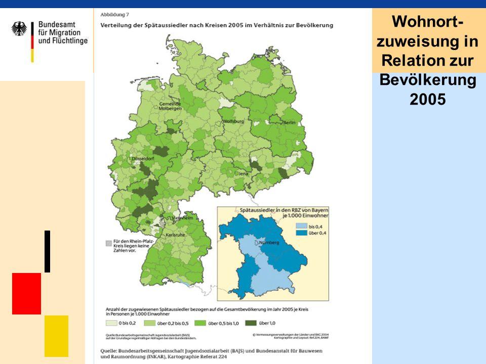 Wohnort-zuweisung in Relation zur Bevölkerung