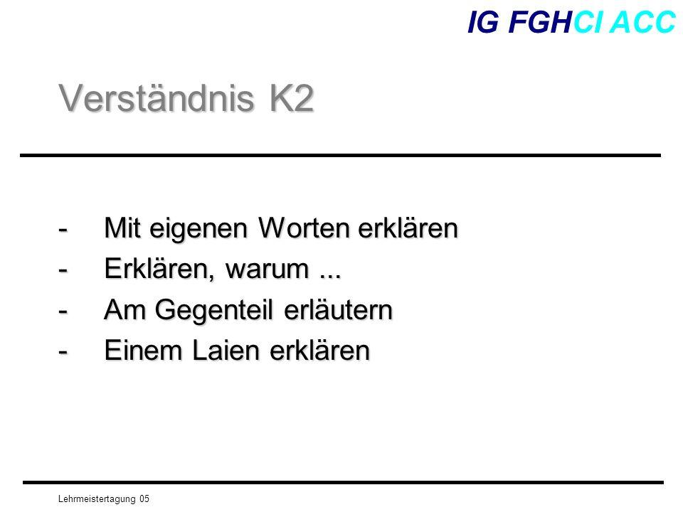 Verständnis K2 IG FGHCI ACC - Mit eigenen Worten erklären