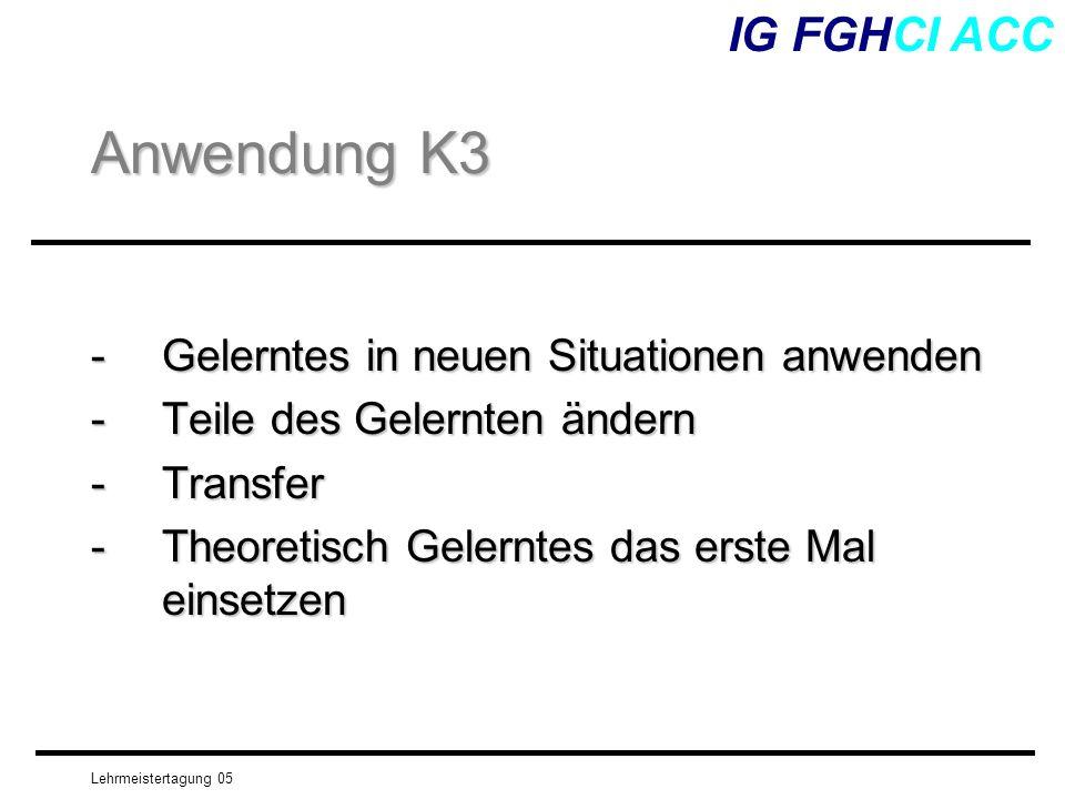 Anwendung K3 IG FGHCI ACC - Gelerntes in neuen Situationen anwenden