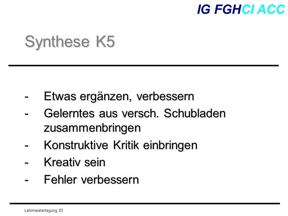Synthese K5 IG FGHCI ACC - Etwas ergänzen, verbessern