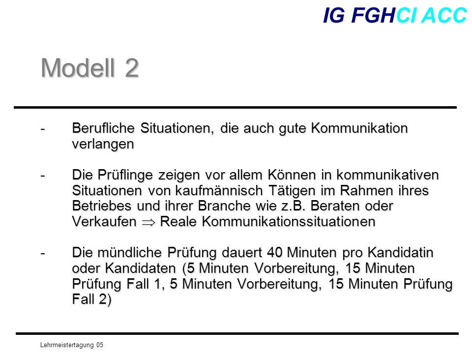 IG FGHCI ACC Modell 2. Berufliche Situationen, die auch gute Kommunikation verlangen.