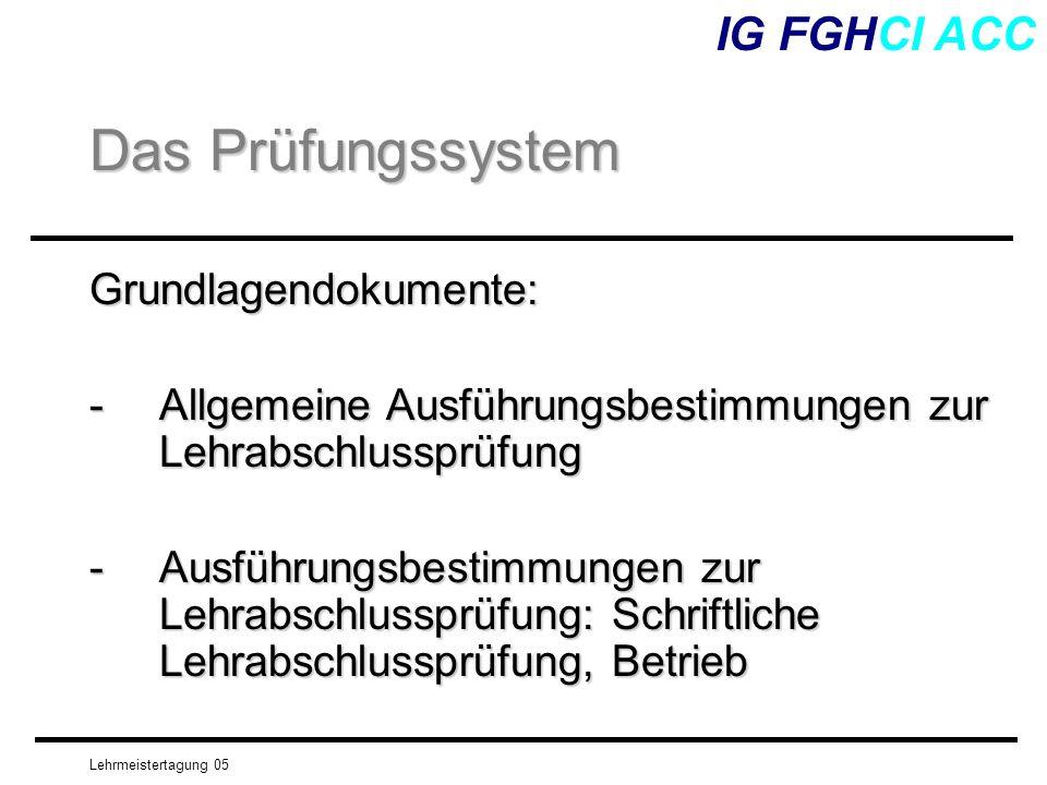 Das Prüfungssystem IG FGHCI ACC Grundlagendokumente: