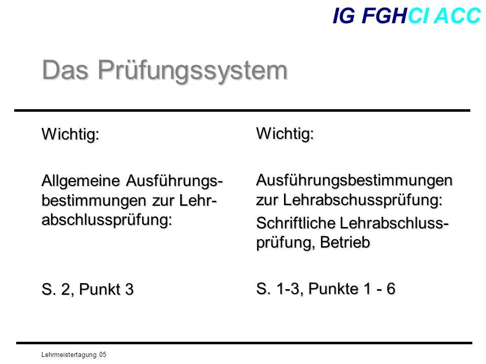 Das Prüfungssystem IG FGHCI ACC Wichtig: Wichtig: