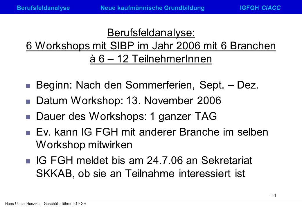 Berufsfeldanalyse: 6 Workshops mit SIBP im Jahr 2006 mit 6 Branchen à 6 – 12 TeilnehmerInnen