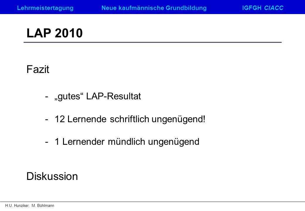 """LAP 2010 Fazit - """"gutes LAP-Resultat Diskussion"""