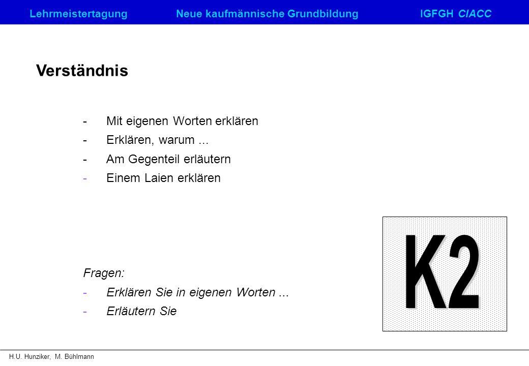K2 Verständnis - Mit eigenen Worten erklären - Erklären, warum ...