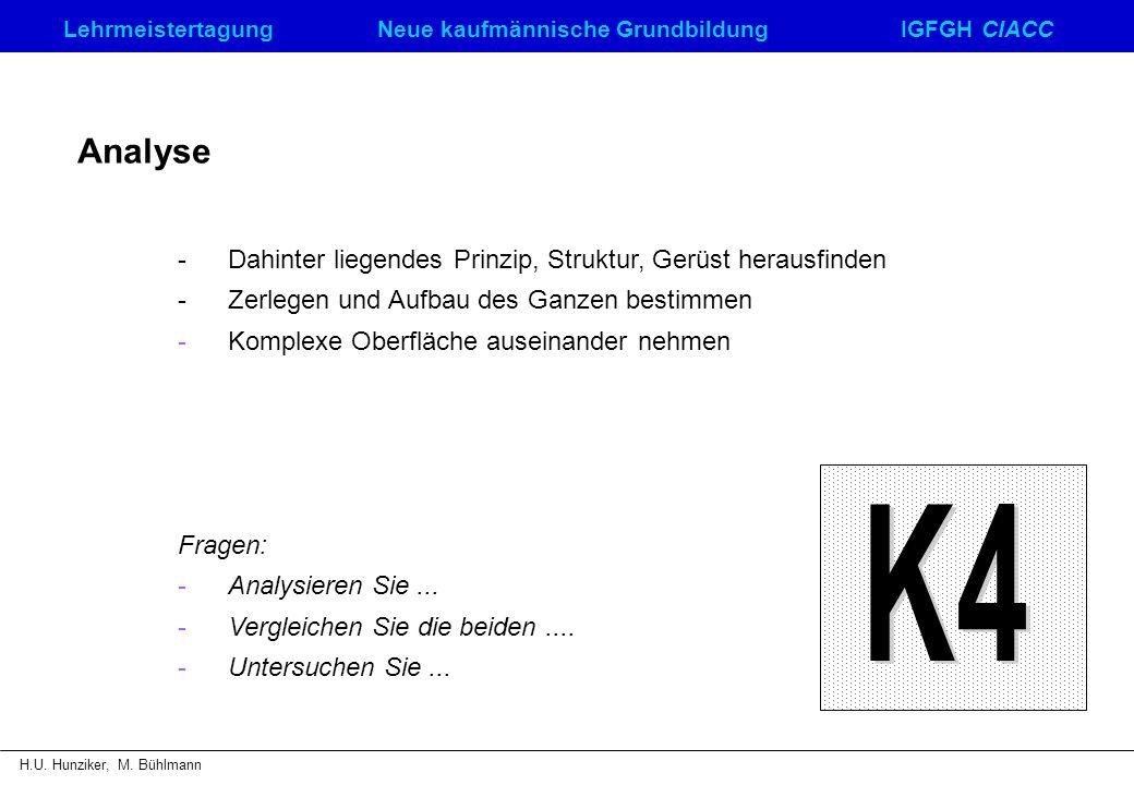 K4 Analyse - Dahinter liegendes Prinzip, Struktur, Gerüst herausfinden