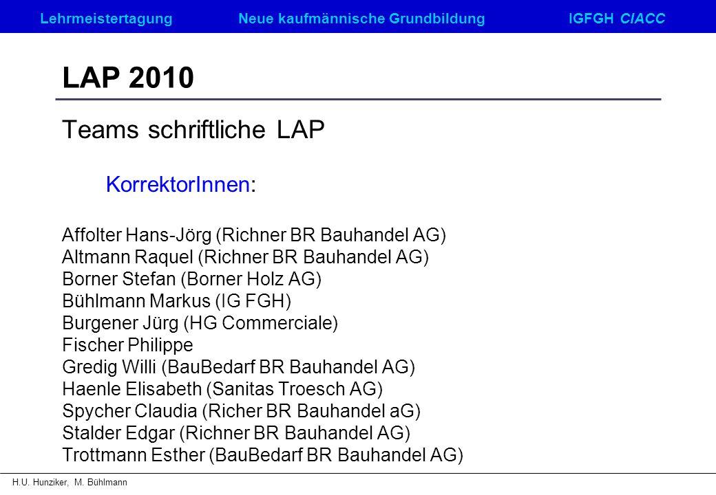 LAP 2010 Teams schriftliche LAP KorrektorInnen: