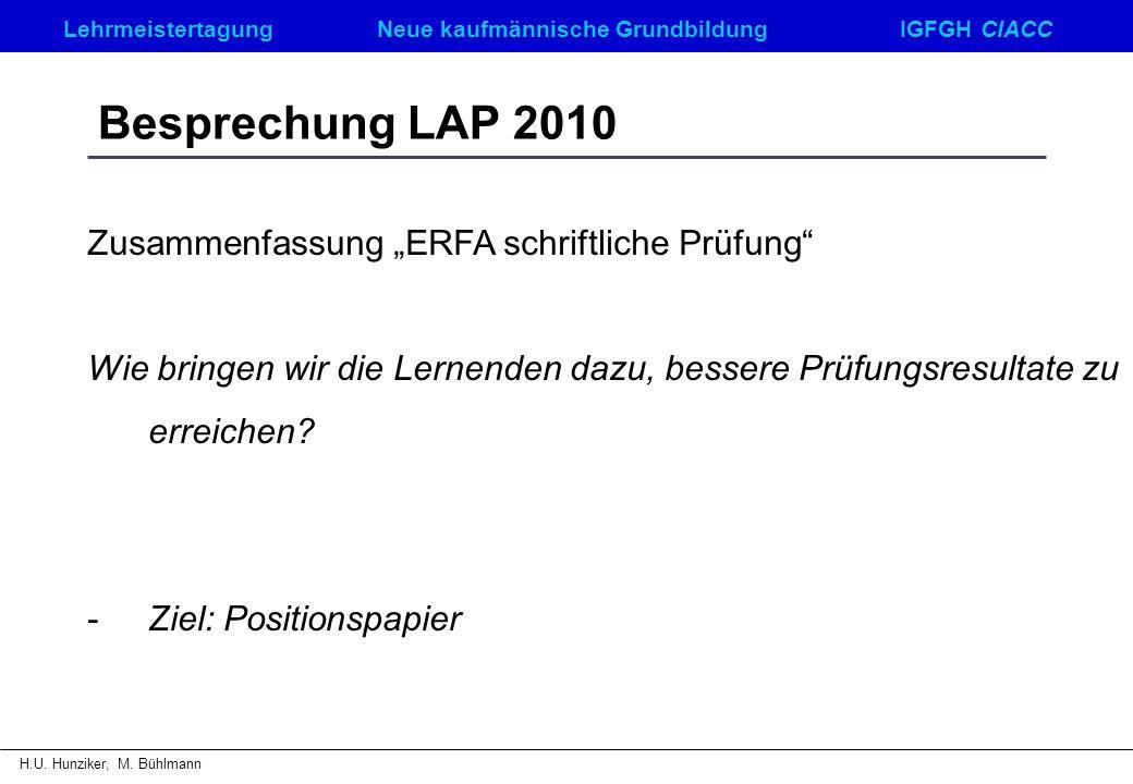 """Besprechung LAP 2010 Zusammenfassung """"ERFA schriftliche Prüfung"""