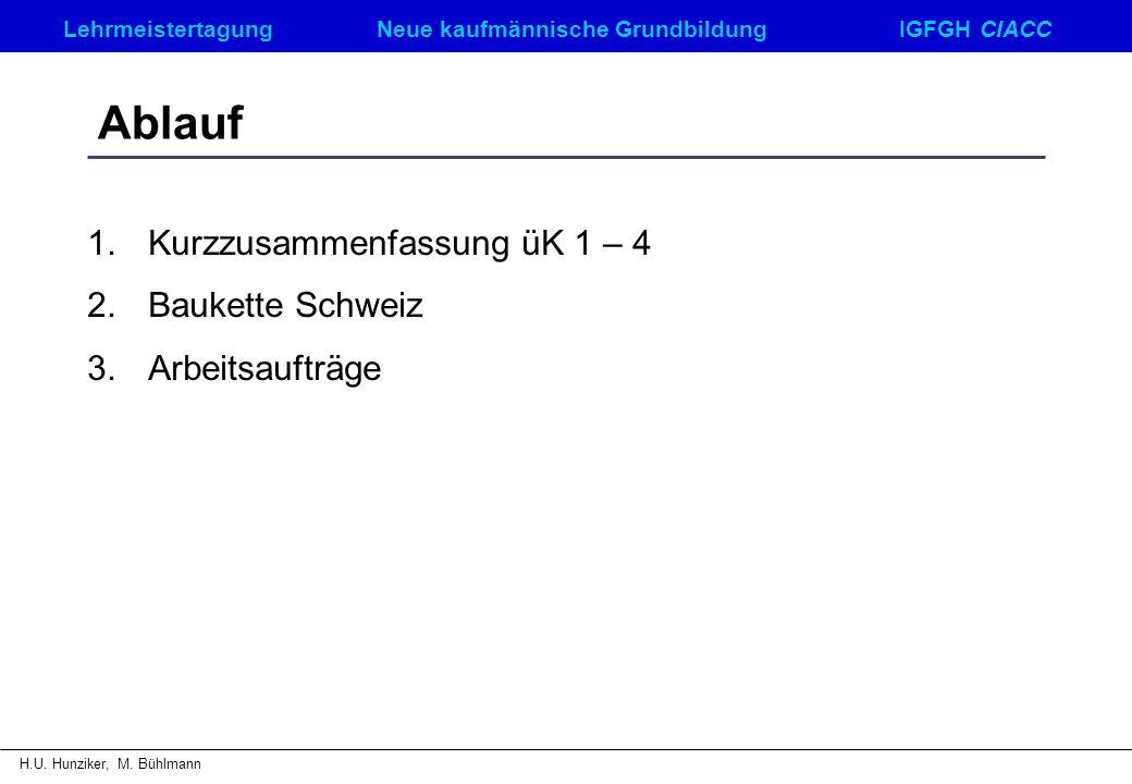 Ablauf Kurzzusammenfassung üK 1 – 4 Baukette Schweiz Arbeitsaufträge