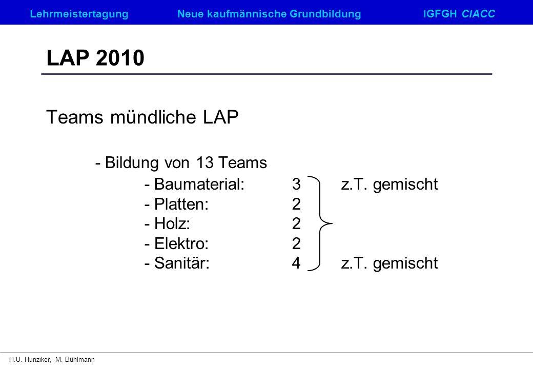 LAP 2010 Teams mündliche LAP - Baumaterial: 3 z.T. gemischt