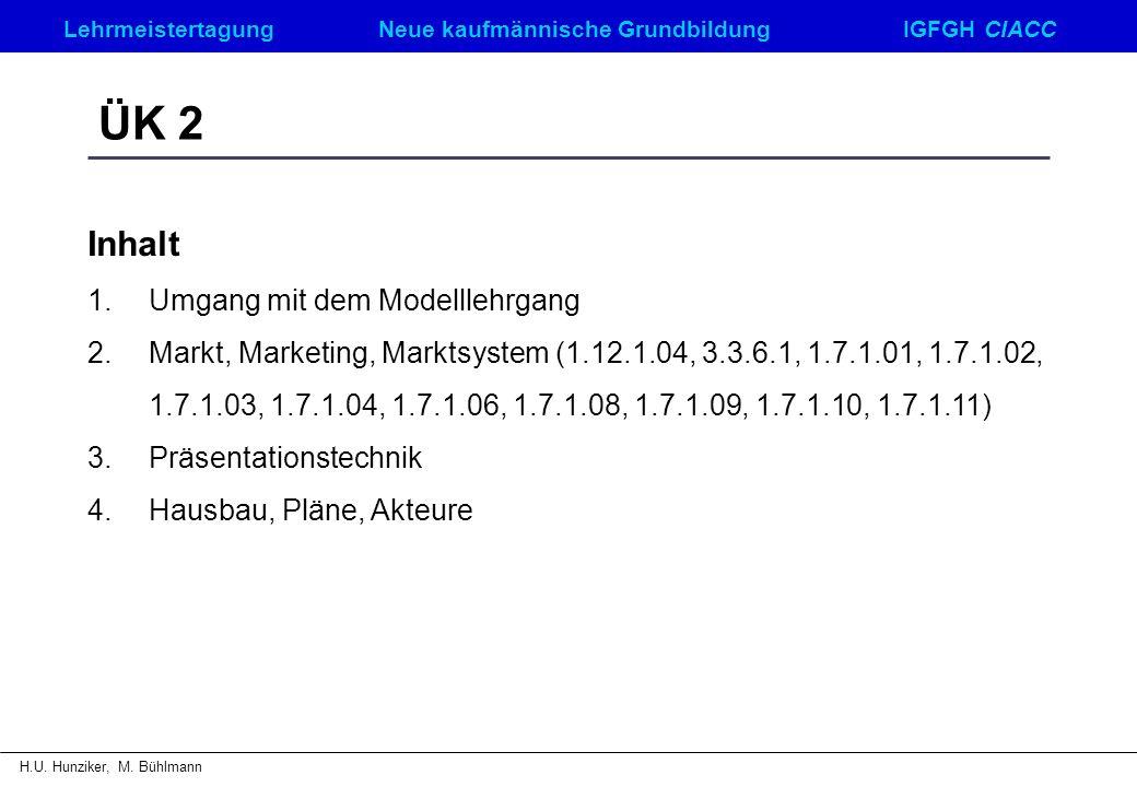 ÜK 2 Inhalt Umgang mit dem Modelllehrgang