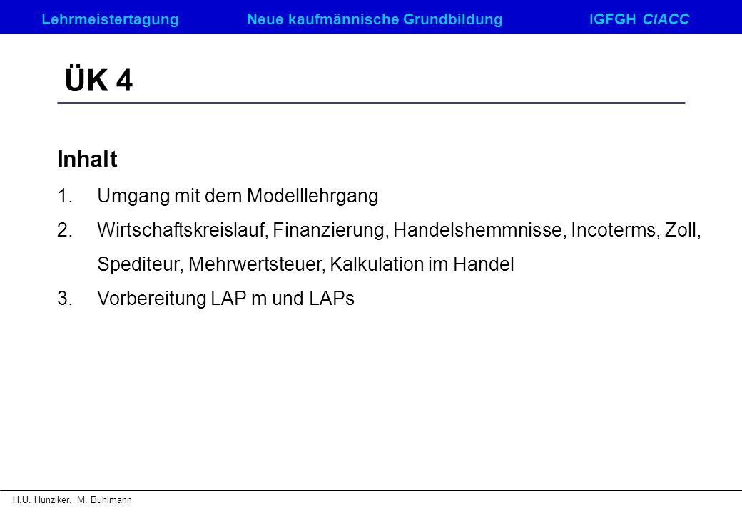 ÜK 4 Inhalt Umgang mit dem Modelllehrgang