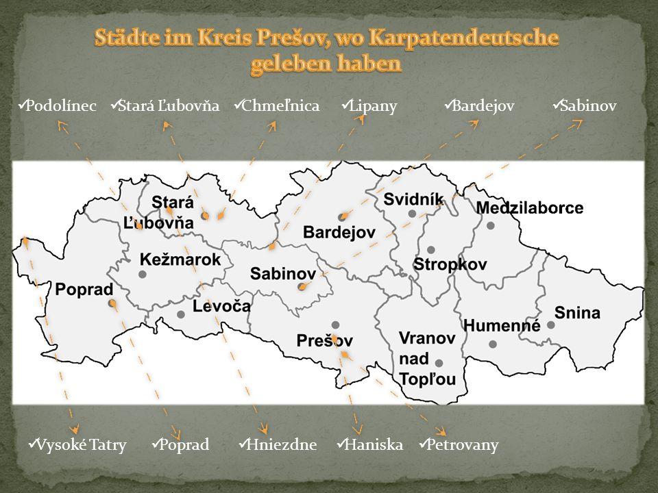 Städte im Kreis Prešov, wo Karpatendeutsche