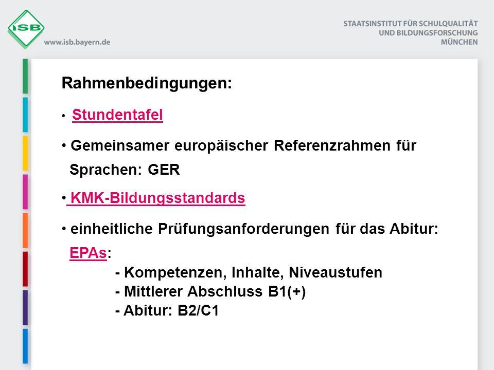 Rahmenbedingungen: Gemeinsamer europäischer Referenzrahmen für