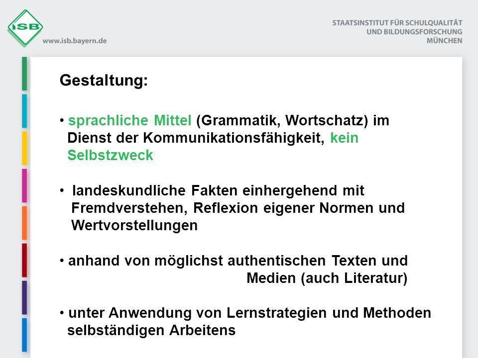 Gestaltung: sprachliche Mittel (Grammatik, Wortschatz) im