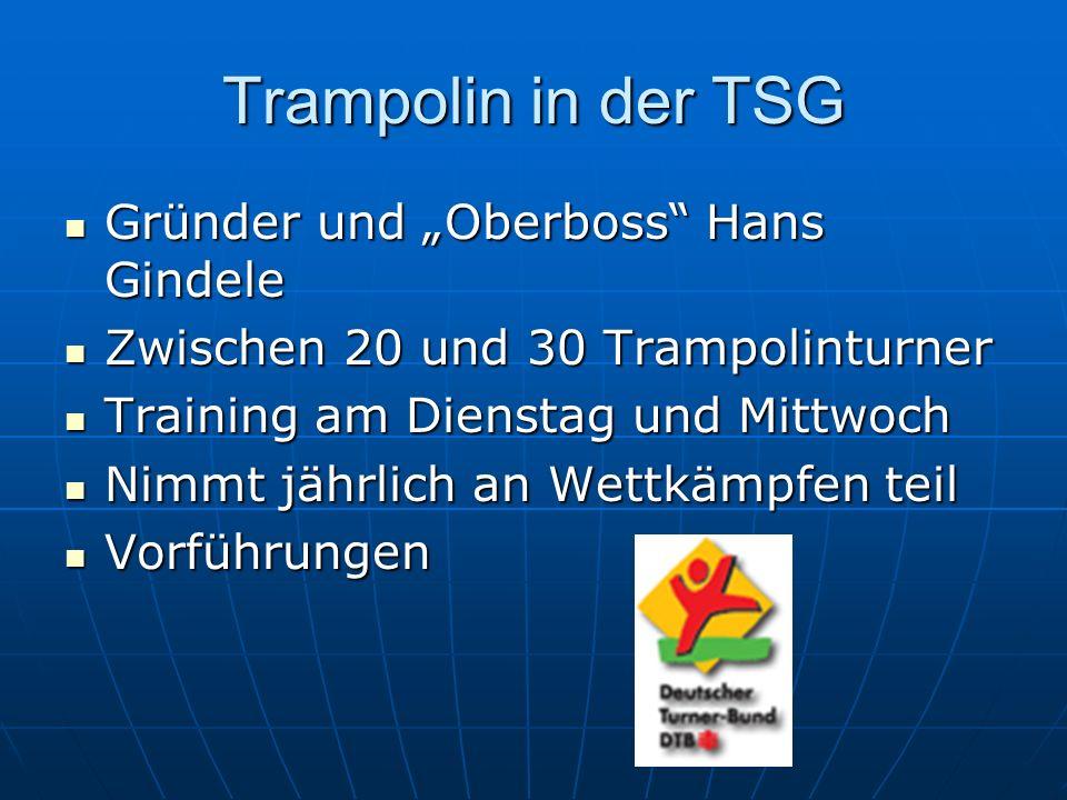 """Trampolin in der TSG Gründer und """"Oberboss Hans Gindele"""