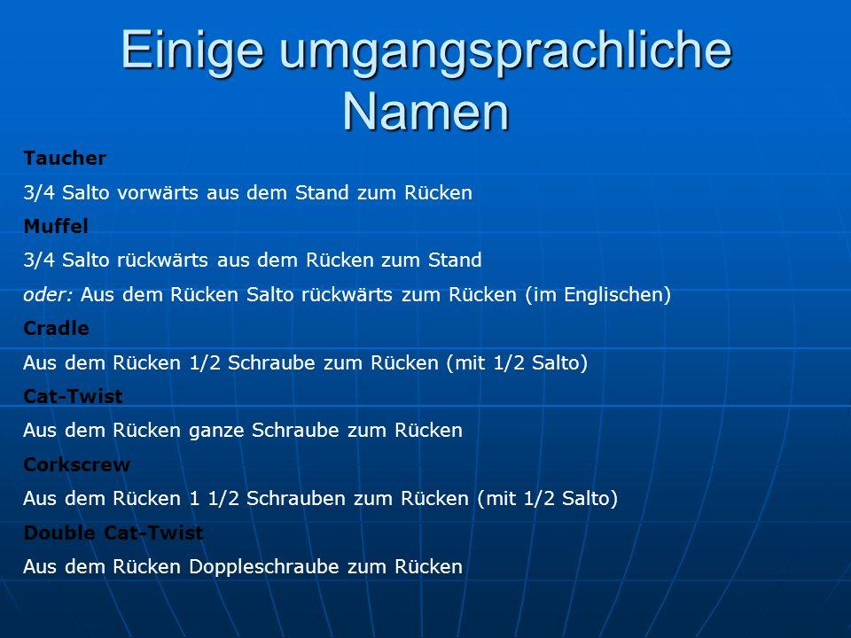 Einige umgangsprachliche Namen
