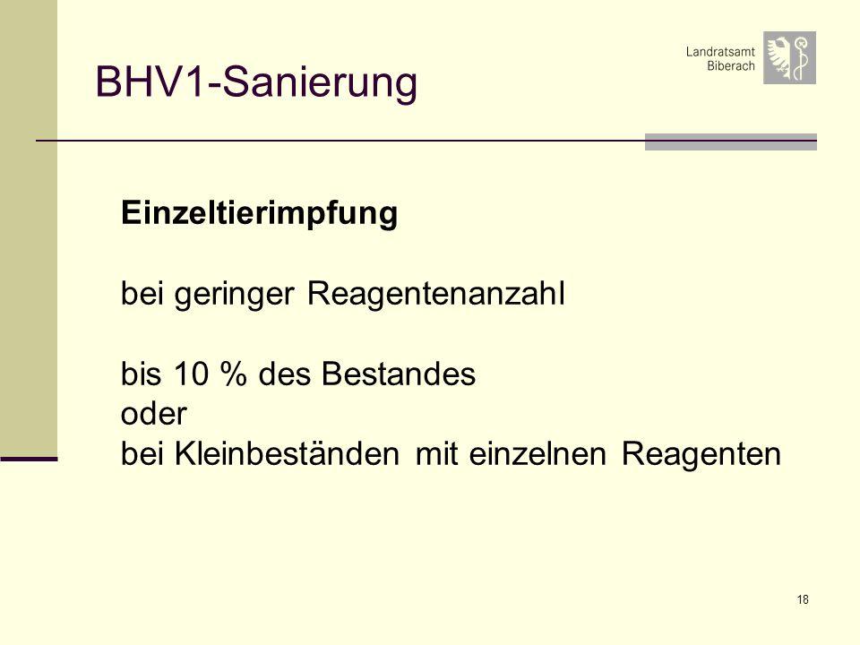 BHV1-Sanierung Einzeltierimpfung bei geringer Reagentenanzahl