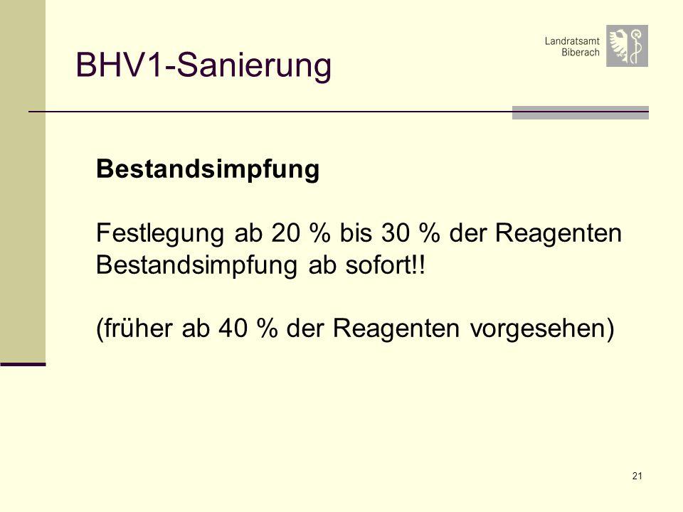 BHV1-Sanierung Bestandsimpfung