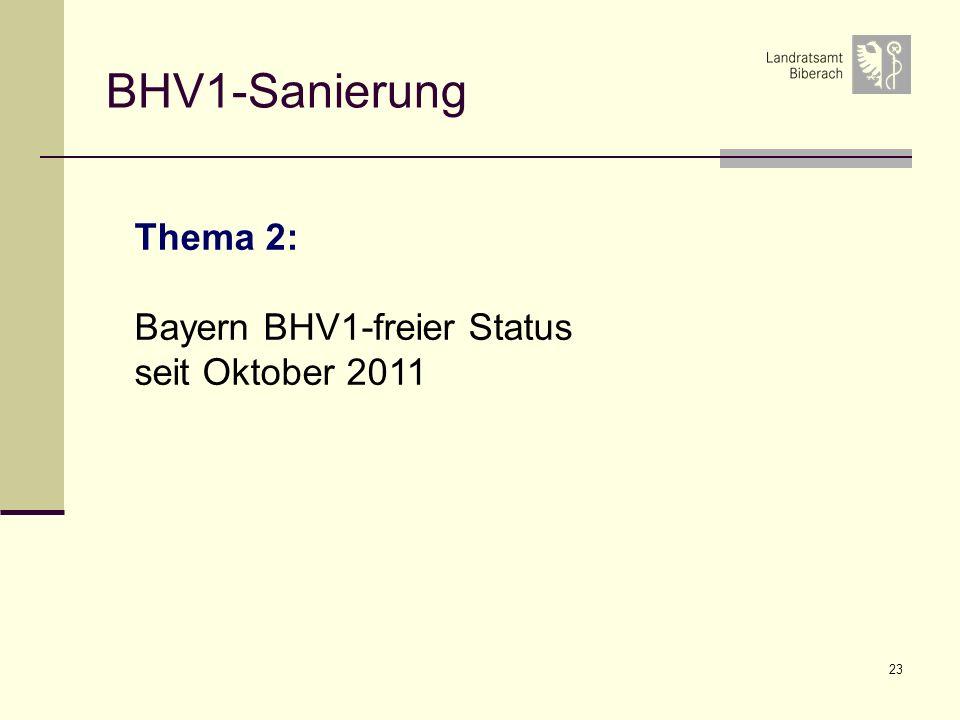 BHV1-Sanierung Thema 2: Bayern BHV1-freier Status seit Oktober 2011