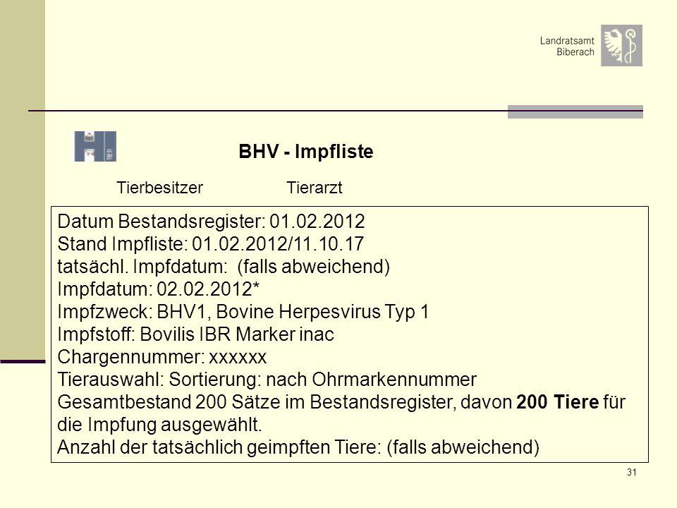 Datum Bestandsregister: 01.02.2012