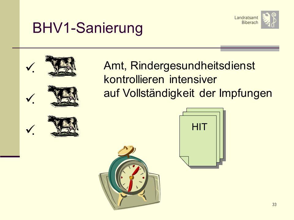 BHV1-Sanierung . Amt, Rindergesundheitsdienst kontrollieren intensiver