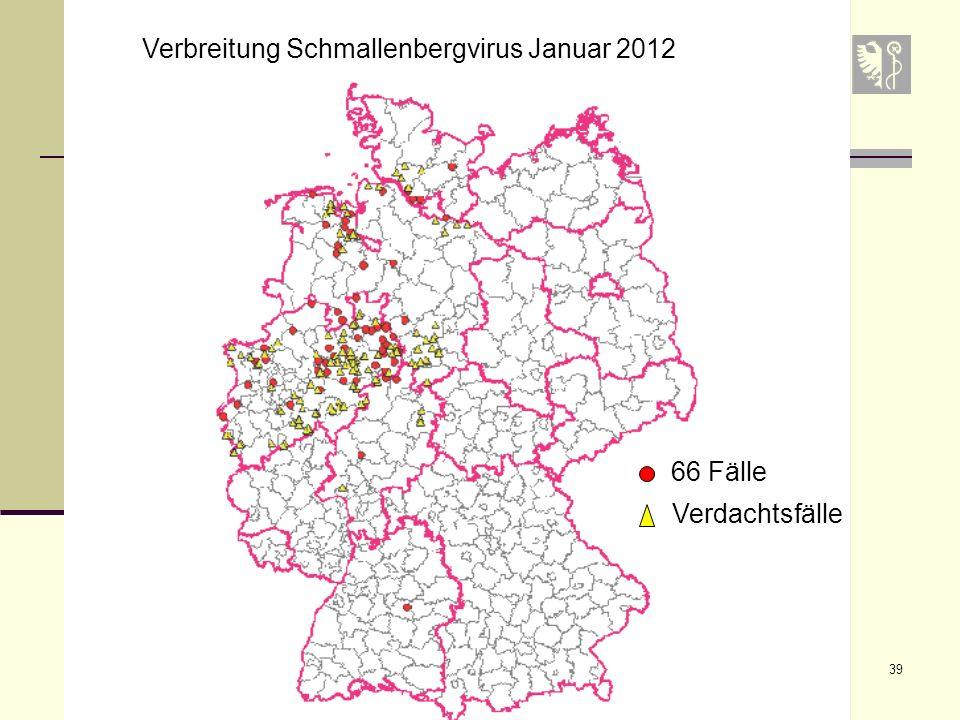 Verbreitung Schmallenbergvirus Januar 2012