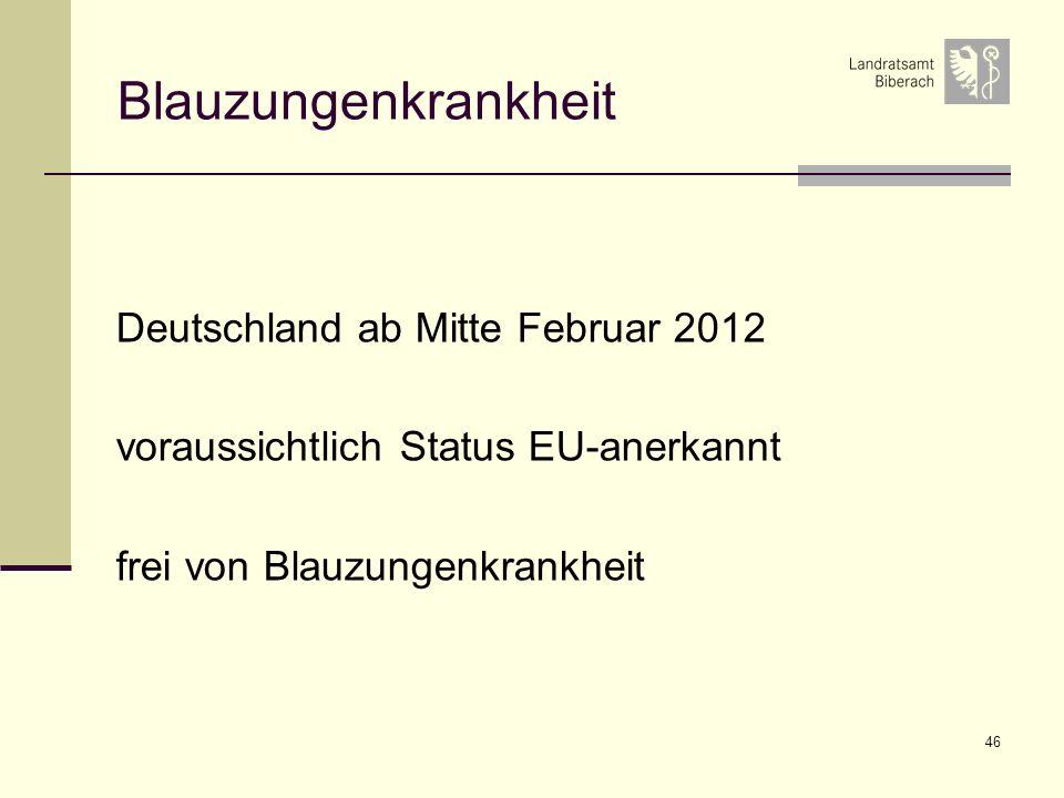 Blauzungenkrankheit Deutschland ab Mitte Februar 2012