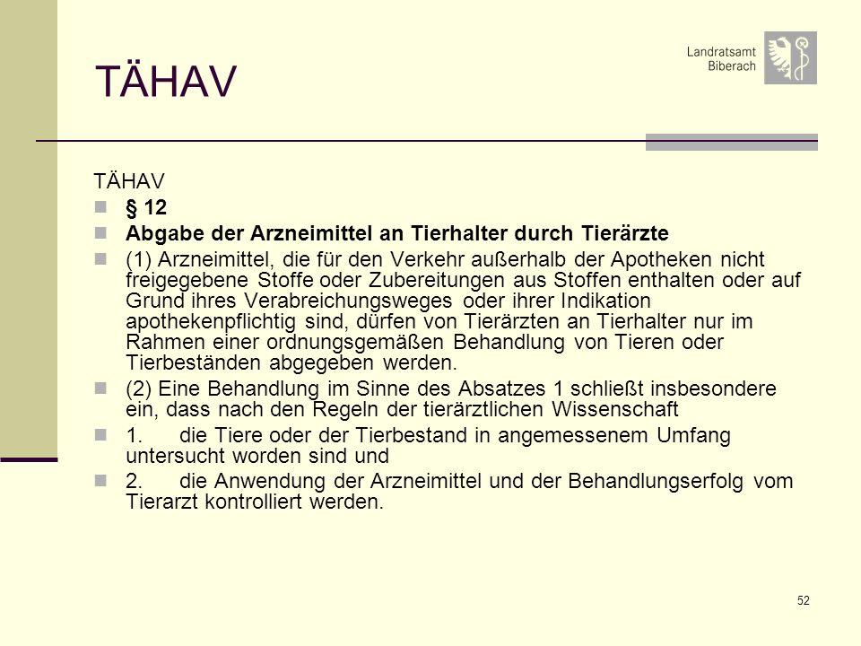 TÄHAV TÄHAV § 12 Abgabe der Arzneimittel an Tierhalter durch Tierärzte