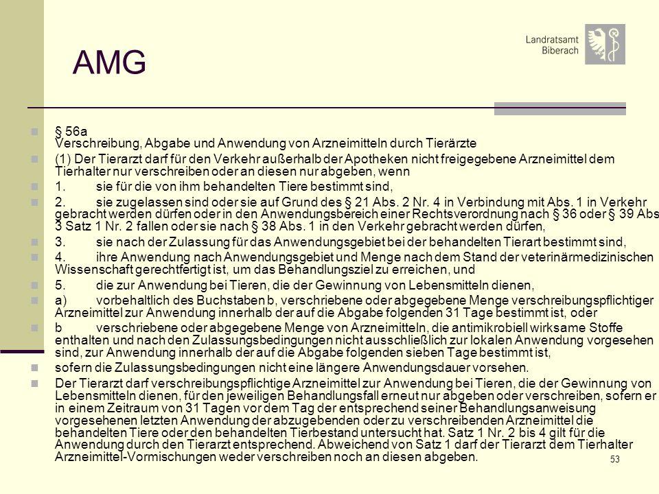 AMG § 56a Verschreibung, Abgabe und Anwendung von Arzneimitteln durch Tierärzte.